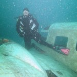 Training Dive: National Defence and the Canadian Forces. Twin prop airplane at a depth of 30 feet